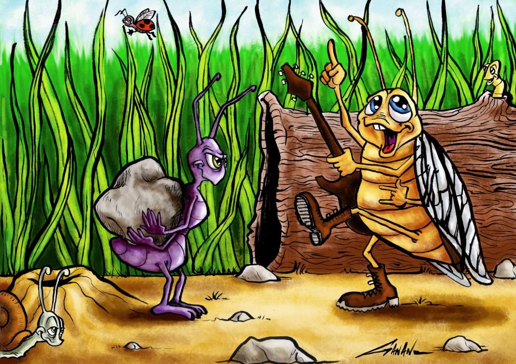 L Illustration De La Cigale Et La Fourmi 2