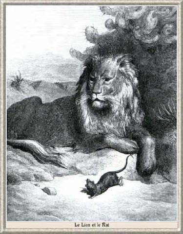 Illustration de jean de la fontaine le lion et le rat 3 - Dessin le lion et le rat ...