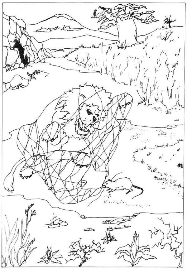 Illustration De Jean De La Fontaine Le Lion Et Le Rat 9